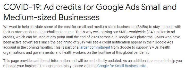 Google Ads: $340 Miljoen Advertentie Budget Beschikbaar voor MKBs Wereldwijd nav Coronavirus/Covid19